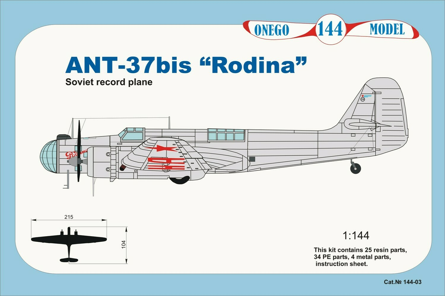 Onego Models 1/144 ANT-37bis Rodina USSR Record plane