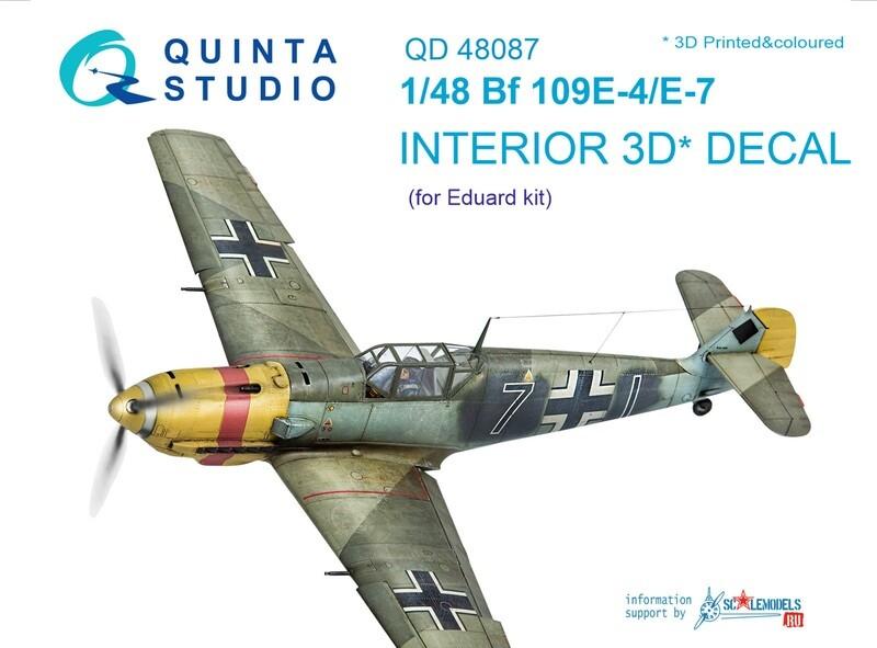 Quinta studio 1/48  Bf 109E-4/E-7 3D-Printed & coloured Interior on decal paper (for Eduard  kit) QD48087