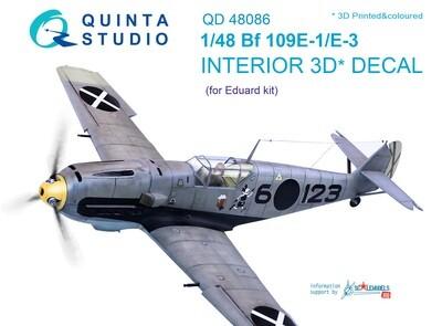 Quinta studio 1/48 Bf 109E-1/E-3 3D-Printed & coloured Interior on decal paper (for Eduard  kit) QD48086