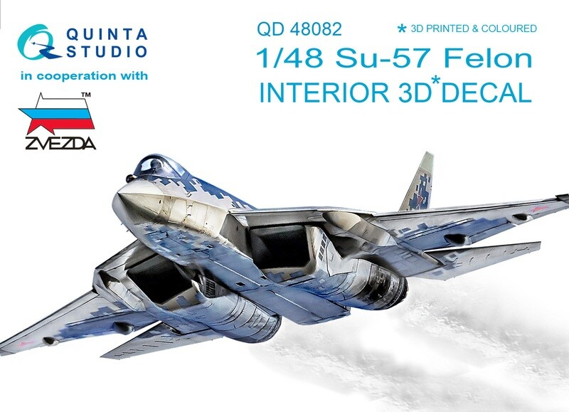 Quinta studio 1/48 Su-57 3D-Printed & colored Interior on decal paper (for Zvezda kit) QD48082