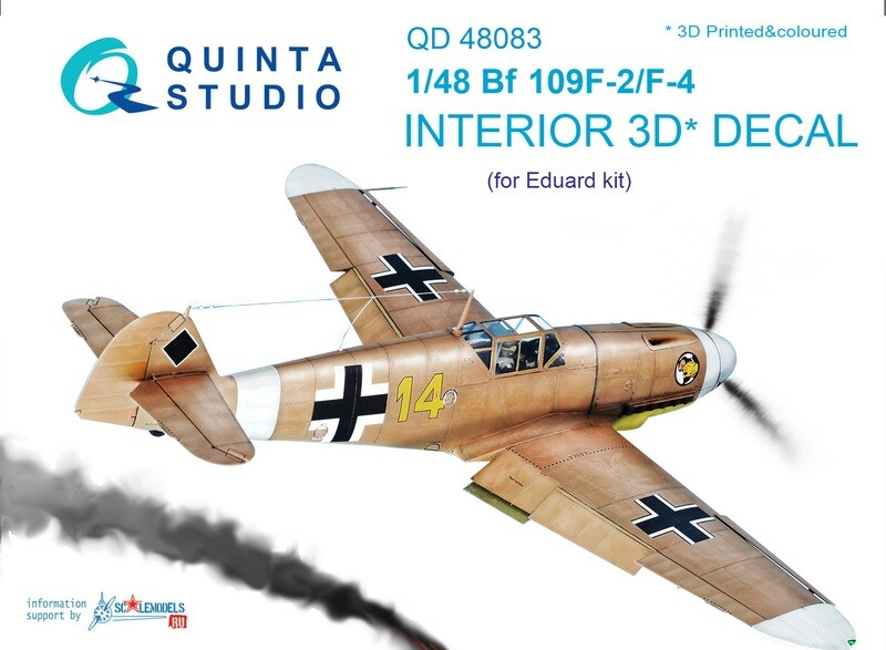 Quinta studio 1/48 Bf 109F-2/F-4 3D-Printed & coloured Interior on decal paper (for Eduard kit) QD48083