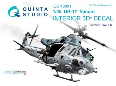 Quinta studio 1/48 UH-1Y Venom 3D-Printed & colored Interior on decal paper (for Kitty Hawk  kit) QD48091