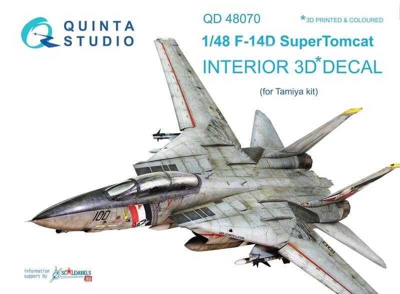 Quinta studio 1/48 F-14D Tomcat 3D-Printed & colored Interior on decal paper (for Tamiya kit) QD48070
