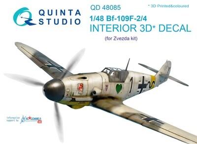 Quinta studio 1/48  Bf 109F-2/F-4 3D-Printed & coloured Interior on decal paper (for Zvezda kit) QD48085
