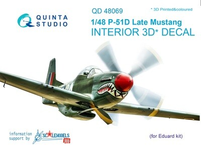 Quinta studio 1/48 P-51D Mustang (Late) 3D-Printed & coloured Interior on decal paper (for Eduard kit) QD48069