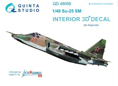 Quinta studio 1/48 Su-25SM 3D-Printed & coloured Interior on decal paper (for KP kit) QD48068