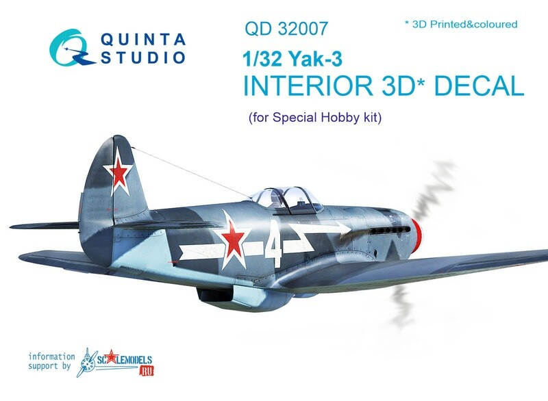 Quinta studio 1/32 Yak-3 3D-Printed & colored Interior on decal paper (for Special Hobby kit) QD32007