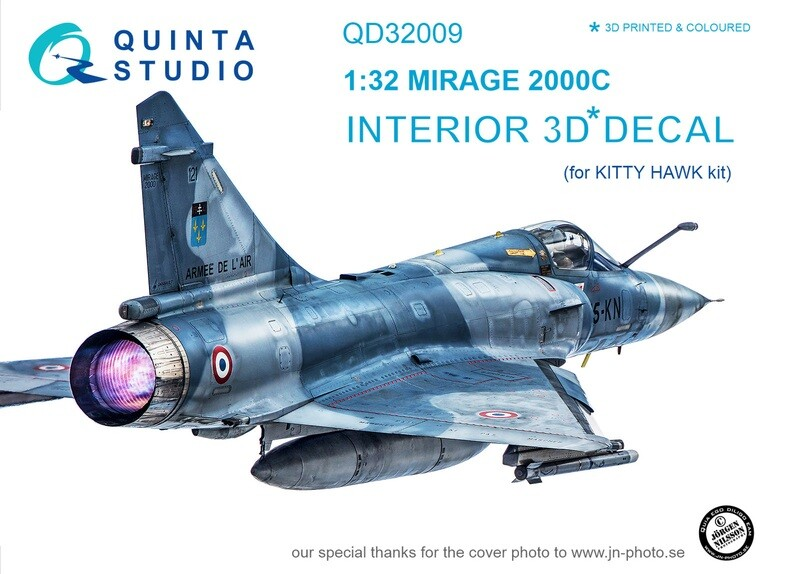 Quinta studio 1/32 Mirage 2000C 3D-Printed & colored Interior on decal paper (for Kitty Hawk kit) QD32009