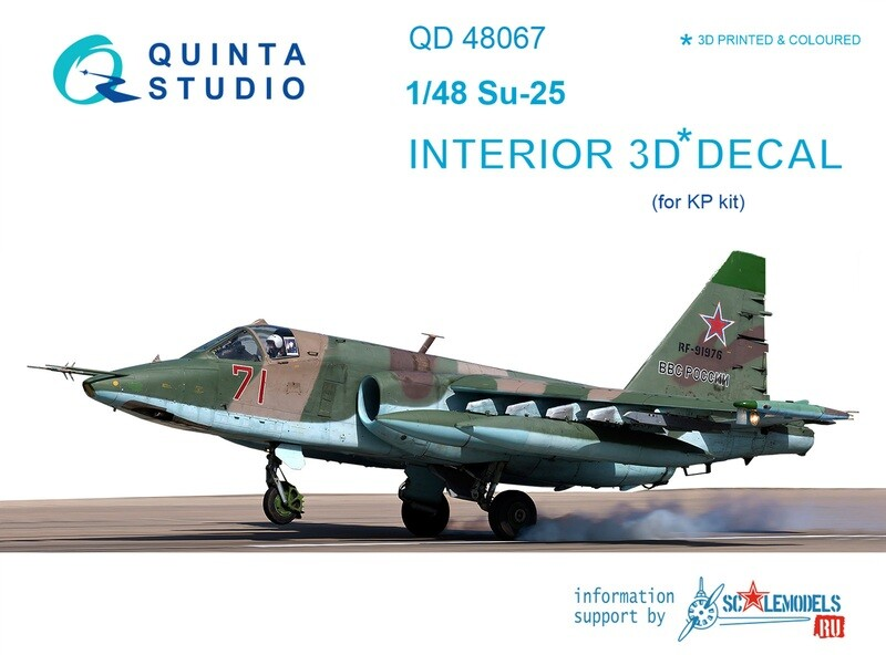 Quinta studio 1/48 Su-25 3D-Printed & colored Interior on decal paper (for KP kit) QD48067
