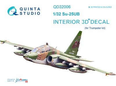 Quinta studio 1/32 Su-25UB 3D-Printed & colored Interior on decal paper (for Trumpeter kit) QD32006