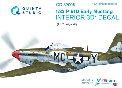 Quinta studio 1/32 P-51D Mustang (Early) 3D-Printed & colored Interior on decal paper (for Tamiya kit) QD32005