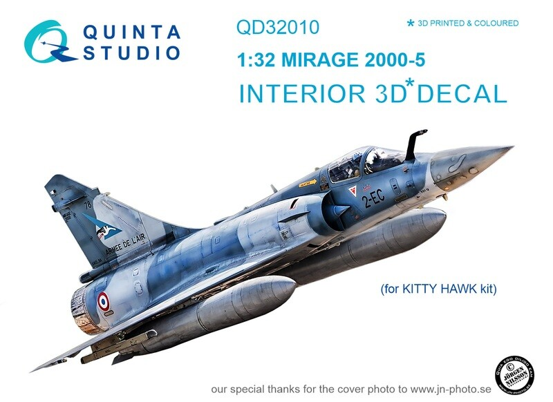 Quinta studio 1/32 Mirage 2000-5 3D-Printed & colored Interior on decal paper (for Kitty Hawk kit) QD32010