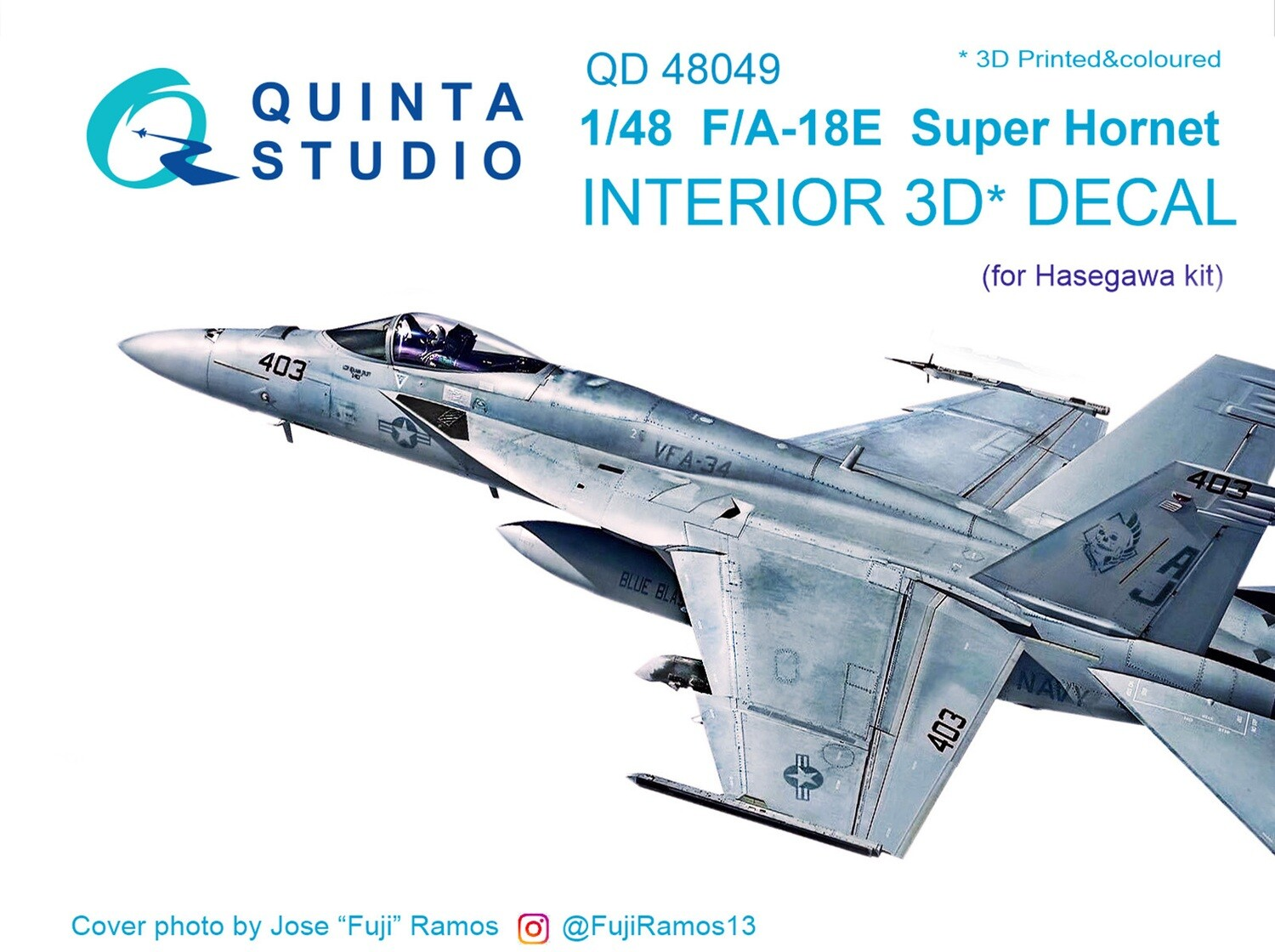 Quinta studio 1/48 F/A-18E Hornet 3D-Printed & colored Interior on decal paper (for Hasegawa kit) QD48049