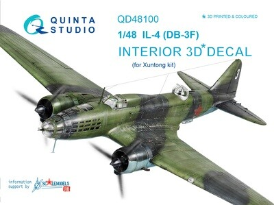 Quinta studio 1/48 IL-4 3D-Printed & colored Interior on decal paper (for Xuntong  kit) QD48100