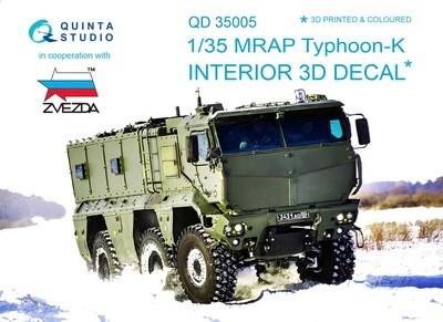 Quinta studio 1/35 MRAP Typhoon-K 3D-Printed & colored Interior on decal paper (for Zvezda kits) QD35005