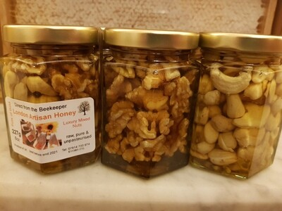 Luxury Nuts with Honey - 8oz - mixed, cashews or walnuts