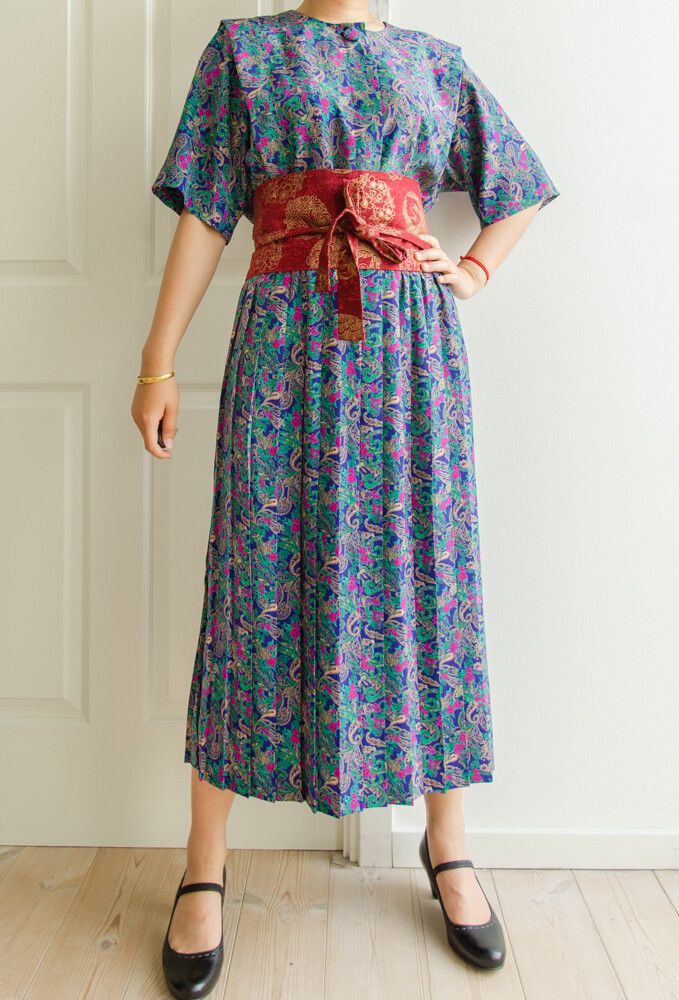 Dark blue retro dress XL