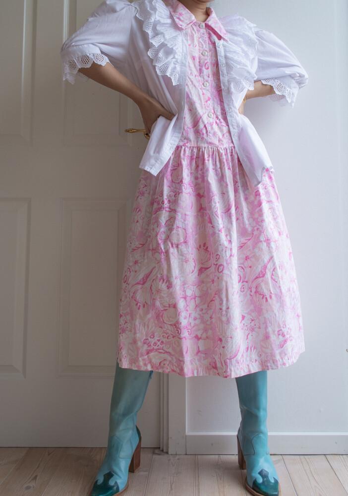Pink painting pattern dress S/M