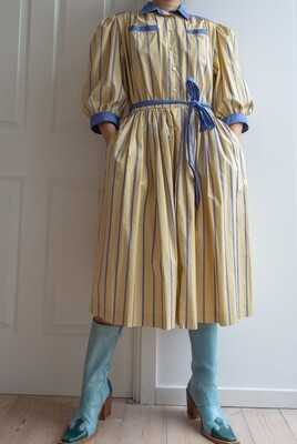 Blue/yellow vintage dress with puffy arms L