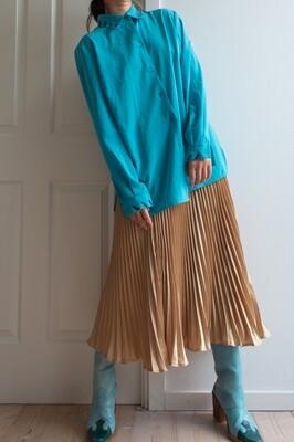 Sea blue retro blouse L