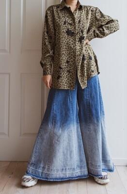 Retro brown leopard&flower print blouse L
