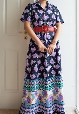 Retro purple flower dress XL