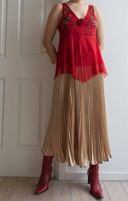 Secondhand red beaded top M