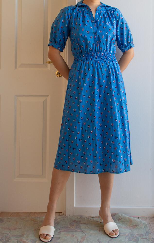 Retro cotton blue dress S/XS