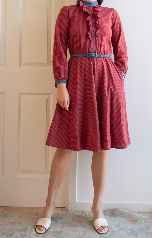 Red&blue cotton dress XS/S