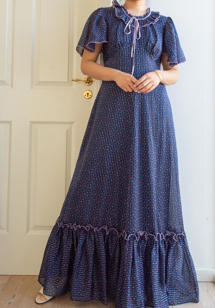 Dots blue maxi dress M