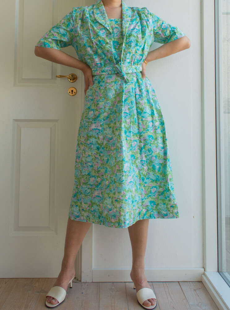 Vintage cotton dress set L