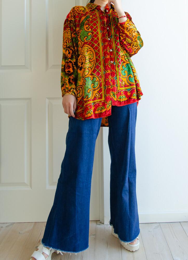 Colourful velvet top L/oversize