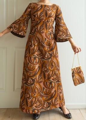 70s maxi dress M/L with bag!