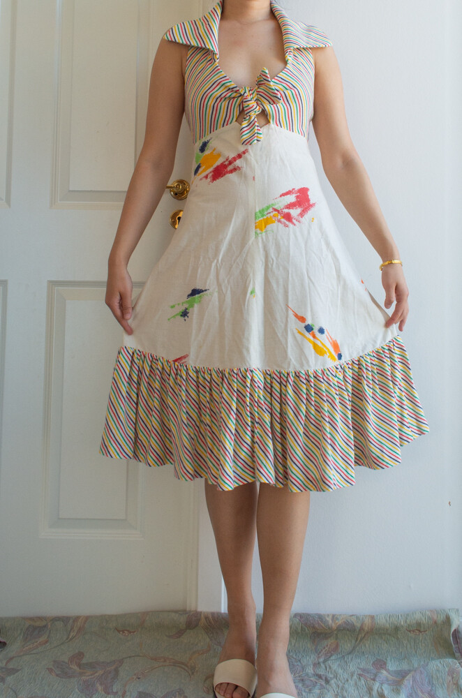60s summer openback dress M