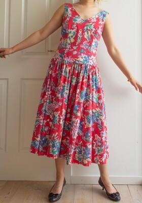 Wonderful red cotton dress M/L