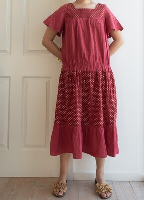 Red cotton dress M/L