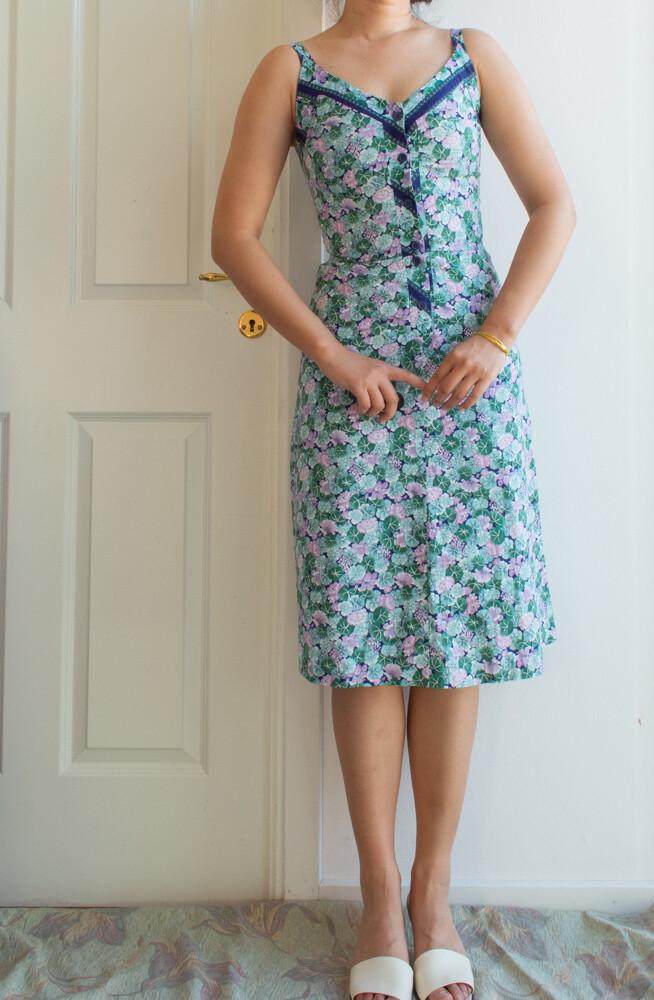 Green cotton dress S/XS