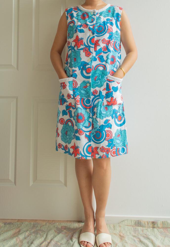 Blue toweling beach dress L