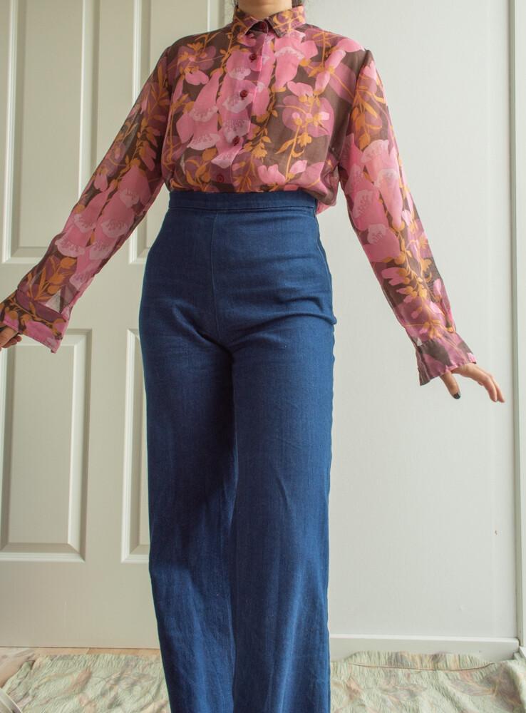 Retro flower blouse L