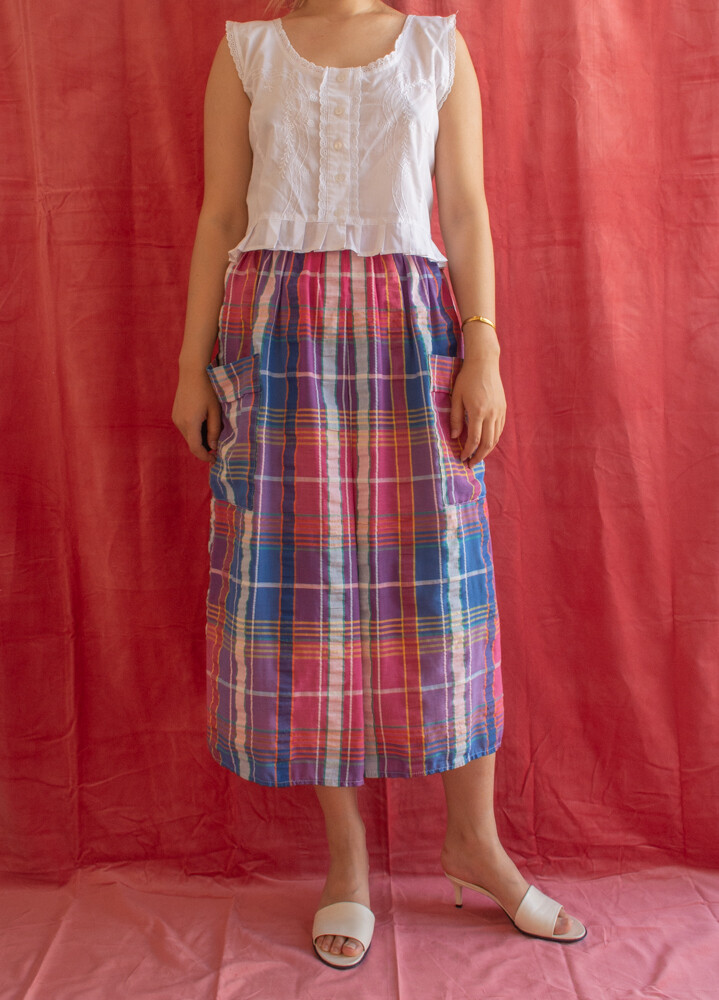 Simple checked skirt L
