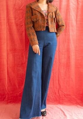 Cropped retro wool jacket M