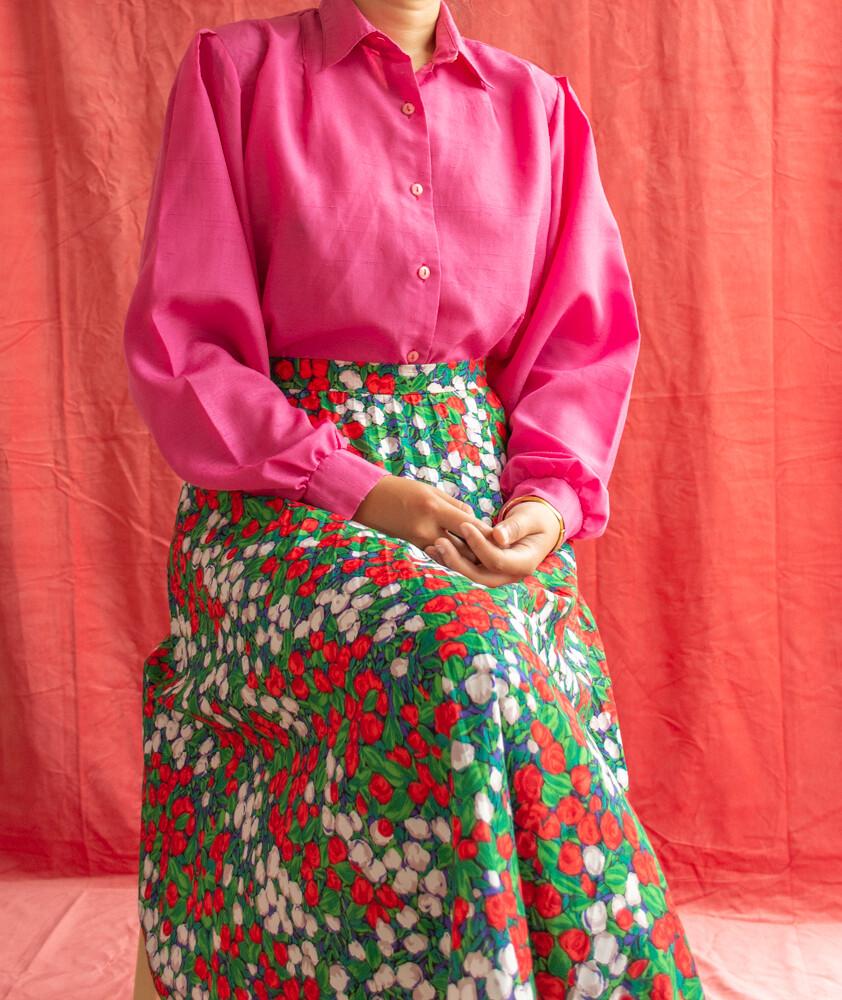 Pink viscose blouse M/L