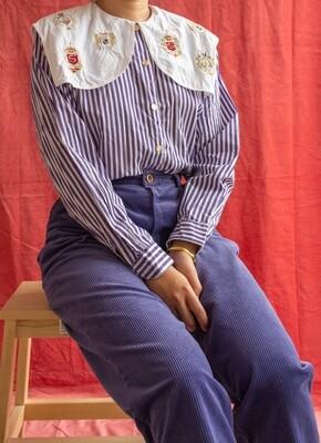 Purple stripe cotton blouse M/L
