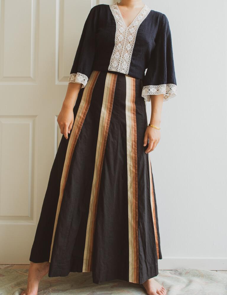 70s cotton maxi skirt M/S