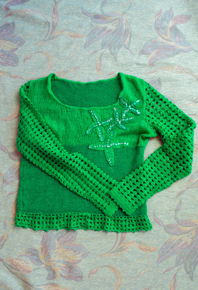 Green homemade sweater XS/S