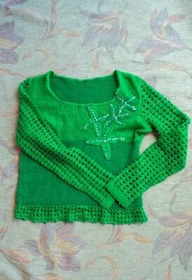 Green homemade sweater XS/S