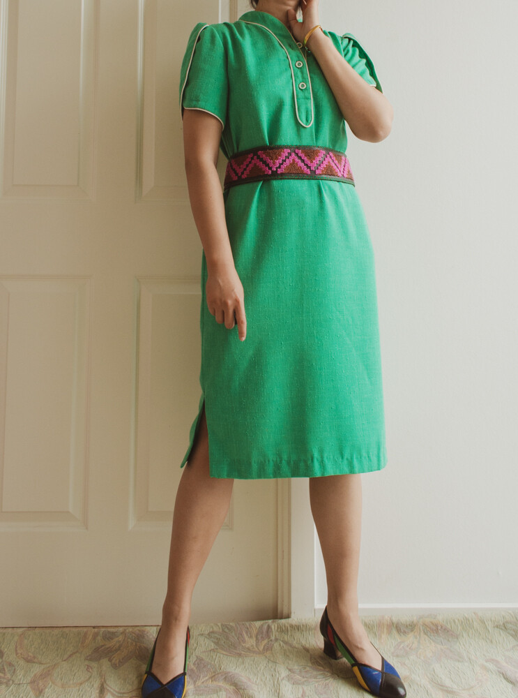 Green retro dress S/M