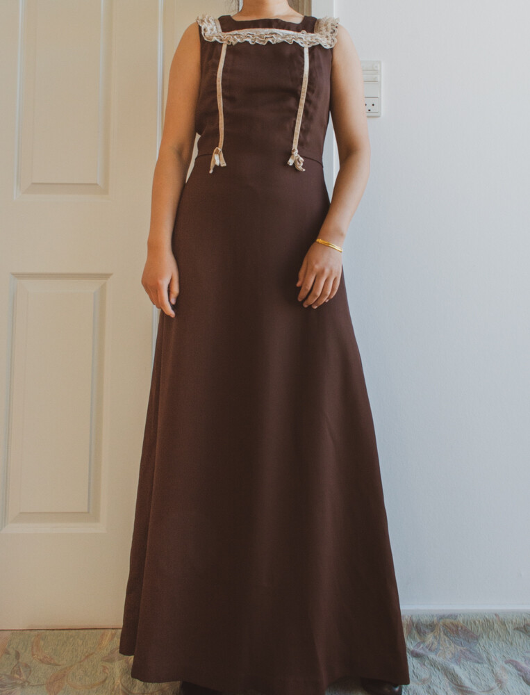 Brown and lace gala dress S/M