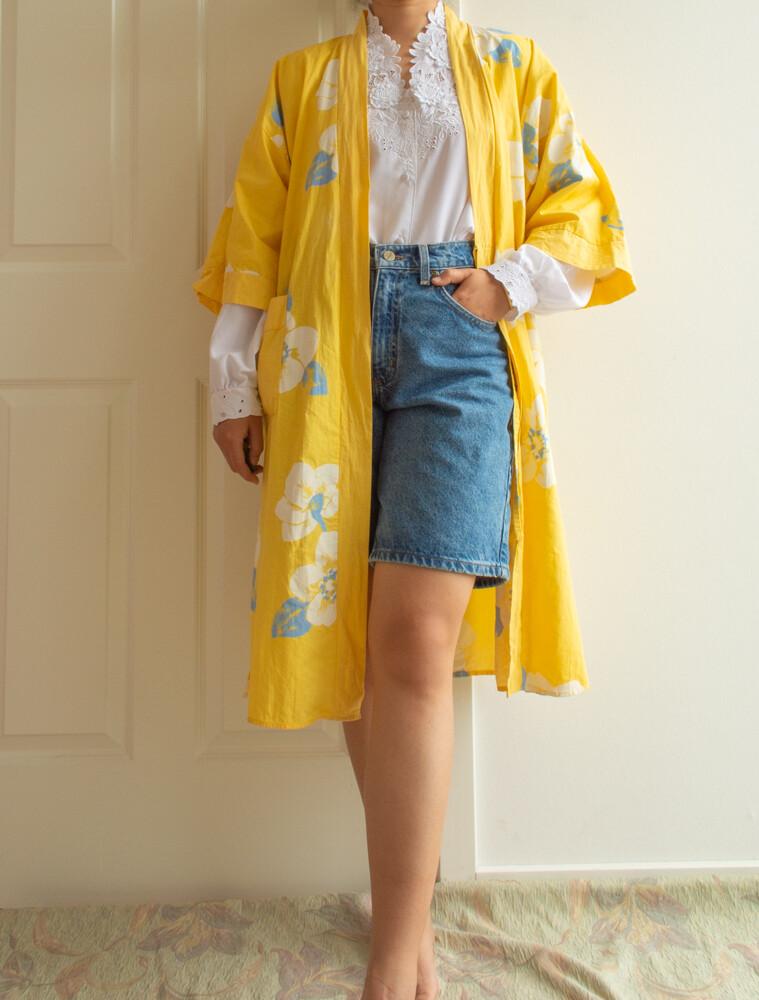 Yellow flower cotton robe