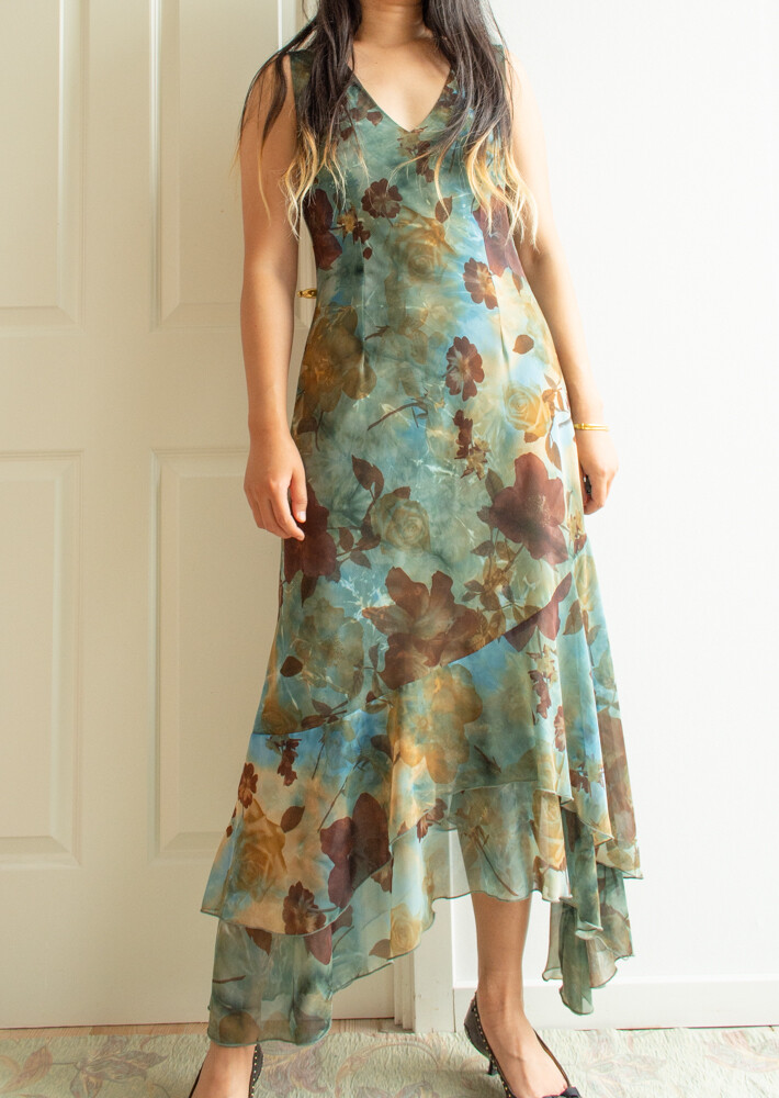 90s blue/green dress M/L